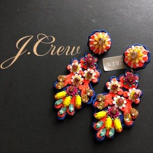 NWT J. Crew Embroidered crystal earrings